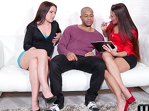Wendy Moon and Mea Melone make a black dick cum on the casting couch