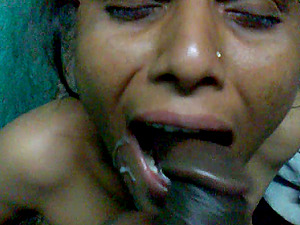 Horny Desi wife take a cum on her mouth