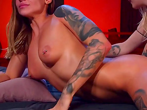 Two horny lesbians have fun together live on webcam