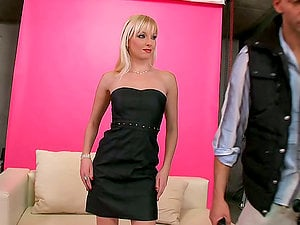 Whorey blonde Lena Cova gargles a hard-on before taking it in her asshole