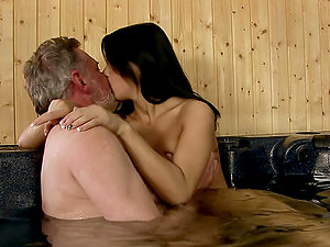 Black-haired Getting Mischievous With An Older Boy In The Jacuzzi