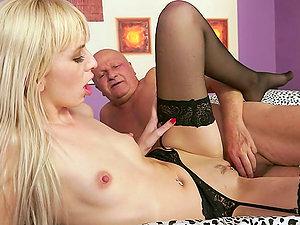 Old Man Gives Skinny Blonde A Internal cumshot