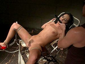 Dirty Brown-haired Bimbo Gets Covered In Pegs And Poked