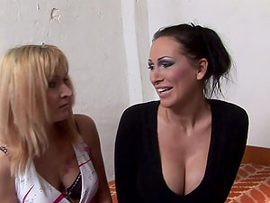 Kathia Nobili pokes a big fake penis into Novigina's hairless cunt