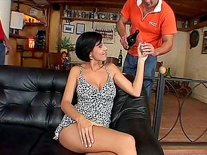 Lovely black-haired damsel having supreme time with two horny guys