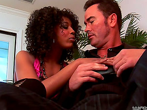 Curly-Haired Black Misty Stone Providing a Utter Service to a Milky Dick