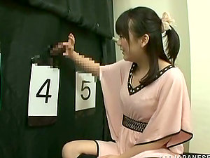 Japanese Chick Searching for Her Man's Shaft in Gloryhole Contest