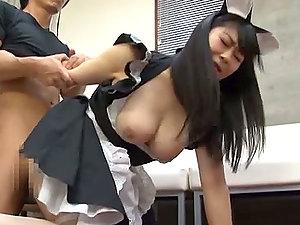 Buxomy Japanese Maid Konatsu Aozora Titty Fucks Before Hook-up