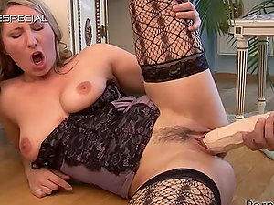 Blonde in Underwear Gets a Facial cumshot After Playing with Dick and Enormous Fuck stick