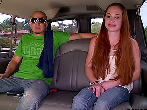 Long-Haired Red-haired Pickup Chick Getting Fucked on the Backseat of Car