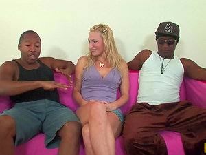 Bang-out thirsty blonde woman has wild hookup with two Black dudes