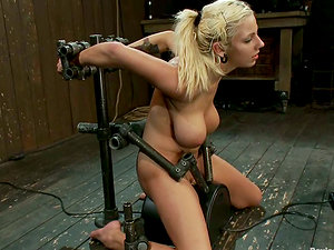 Big Titted Blonde Lylith Lavey Made to Rail a Sybian saddle in Restrain bondage Vid