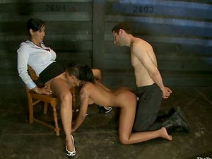 Isis Love and Matt Williams torment and fuck a hotty in a basement