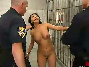Hot Asian Inmate Mika Sunburn Fucked and Predominated by Two Police Officers
