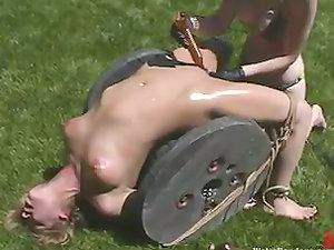 Brooke Trussed gets her vag toyed outdoors in a weird Domination & submission clip