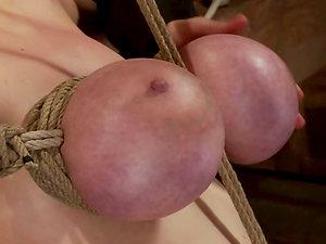 Katie Kox Gets Her Big Titties Purple by Cable Ties in Restrain bondage movie