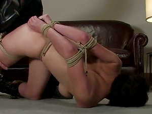 Kinky brown-haired Sarah cums unwillingly in amazing Domination & submission scene