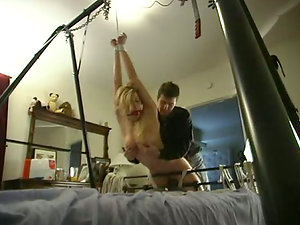Petite light-haired with hot tits get tied up and spanked hard