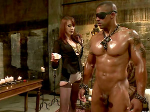 Big Fellow Getting Predominated by Kinky Bitch Maitresse Madeline in Restrain bondage Vid