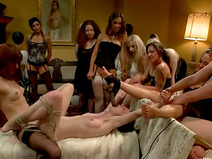 A Dozen of Damsels Playing with a Subjugated One in Lezzy Domination & submission Gang-bang