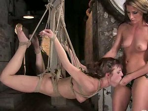 Tied up Riley Timid gets bonded and jammed with a belt cock