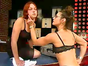 Ginger gets whipped and fucked by g/g mistress Kym Wilde