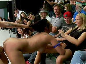group of hot chicks fight in a ring and have sapphic orgy