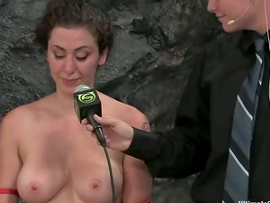 Hot chicks fight and also use their belt dick in a ring