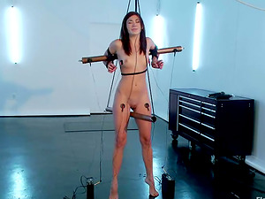 Amazing Hanna Reilly gets tied up and electrified