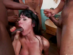 Sex-positive brown-haired woman gets gang-fucked by Black guys
