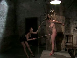 Cable and Frolicking Activity in Lezzy Restrain bondage Vid for Sara Scott