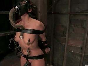 Playing with Satine Phoenix Tied to a Post in Lezzie Female domination Vid
