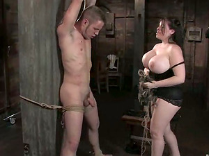 Hugely Boobed Daphne Rosen Playing with Stud in Female dom Torment Sadism & masochism vid