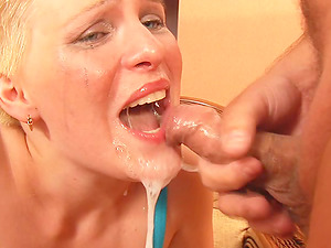 Short-Haired Blonde Lady Getting Jaws Fucked and Having Fuck-a-thon for Jizz