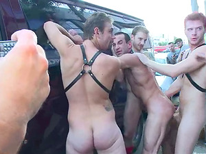 Jason Miller gets bounded and fucked in public by guys