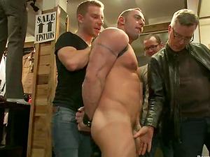 Christian Wilde gets his mouth and arse fucked hard in a shop