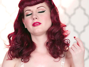 Desirable ginger-haired angel is all naked and sexcited