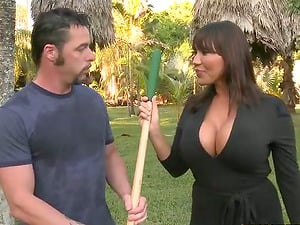 Brown-haired Cougar gets fucked and creampied by a gardener