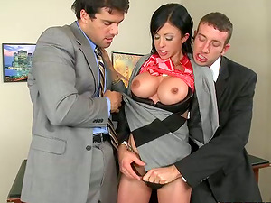Whorey Jewels Jade gets threesomed in an office