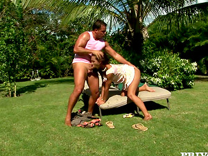 Sabrina Sweet gets her bum banged deep and hard in the yard