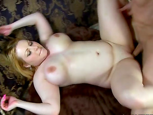 Fat blonde Lily Lovely gargles a man rod and gets her meaty cunt smashed