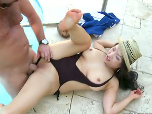 Exotic mummy Mia Rider gets her cunt amazingly pounded on the poolside