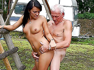 Beautiful Dark haired Nubile Gets Banged By an Old Man Outdoors