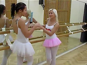 Ballet Lovelies Evelin And Sonia Crimson Have fun With One Another's Raw Beavers