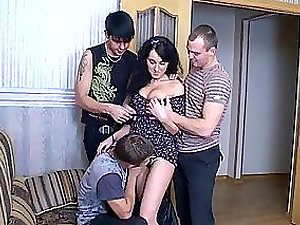 Sexy Dark haired Teenager Gets Fucked by Three Dudes in Gang-fuck