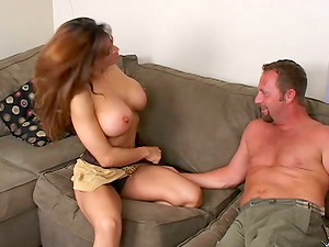 Devon the big-boobed brown-haired Mummy gets pounded on a sofa