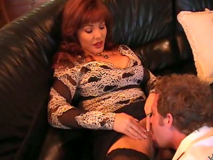 Christina the buxomy Cougar in stockings gets fucked rough