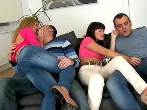 Admirable gals with perky tits get pounded in group hookup movie