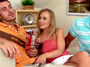 Playful blondie Colette tempts two fellows at a time