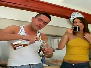 Ass-fuck Fuck-a-thon in the Kitchen in 4 way with Two Euro Honeys